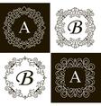 Set of monogram line vintage frames labels and vector image