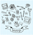 sewing doodle with blue grid background vector image
