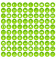 100 amusement icons set green vector image vector image