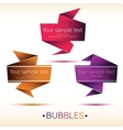Abstract origami speech bubble backgrounds set vector image vector image