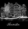 amsterdam canal and typical dutch houses vector image vector image