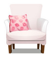 armchair upholstered with white fabric and soft vector image