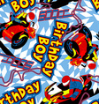 Birthday boy motorbike seamless pattern vector image vector image