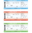 blue green and red airline boarding pass tickets vector image vector image