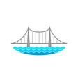 Bridge over the river logo vector image