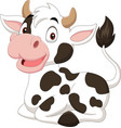 cartoon funny cow sitting on white background vector image vector image