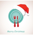 christmas dinner plate wearing christmas red hat vector image vector image