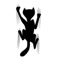 climbing cat silhouette vector image vector image