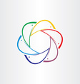 color dolphins in circle design element vector image