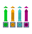 condoms and packages on white background vector image vector image