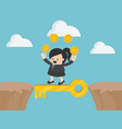 cross the cliff with key to success vector image vector image