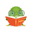 cute cactus sitting on the floor and reading a vector image vector image