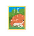 cute red fox with woodland vector image vector image