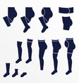 Different types of socks tights and stock vector image