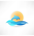 dolphin on background sun icon vector image
