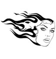 face women and fire art vector image vector image
