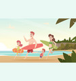 family couple travellers happy kids with parents vector image
