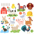 farm animals cartoon characters isolated icons vector image vector image