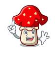 finger amanita mushroom mascot cartoon vector image