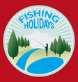 fishing in the mountain stream vector image