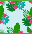 floral pattern on blue background vector image vector image