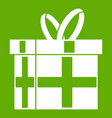 gift in a box icon green vector image
