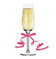 glass of champagne with ribbon merry christmas vector image vector image