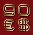 gold angular nine zero numbers euro and dollar vector image vector image