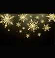 golden snowflakes isolated on dark background new vector image