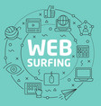 green line flat circle web surfing vector image vector image