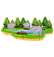 group elephant in nature vector image vector image