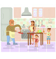 happy family is cooking vector image vector image