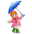 happy girl under umbrella vector image vector image
