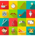 Hipster icons set in flat style vector image