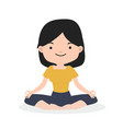 little girl meditating in flat design vector image vector image