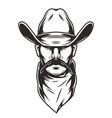 man head in cowboy hat concept vector image