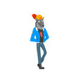 man with wolf head in casual clothes vector image vector image