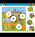 match pieces game with cartoon wild animals vector image vector image