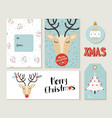 merry christmas deer greeting card and label set vector image vector image