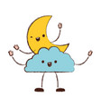 moon and cloud kawaii caricature in blurred color vector image