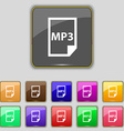 mp3 icon sign Set with eleven colored buttons for vector image vector image