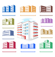 Multistoried building site icons logo set vector image vector image