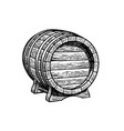 old wooden barrel on stand hand drawn vector image vector image