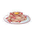 pasta with bacon isolated icon vector image