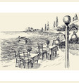 restaurant terrace on beach hand drawing vector image vector image