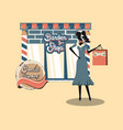 retro shopping store woman with bag vector image vector image