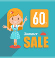 sale banner with pretty girl big summer sale vector image vector image