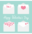 set four envelopes with hearts valentines day vector image vector image