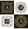set monogram line vintage frames vector image