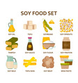 soy food flat icons set vector image